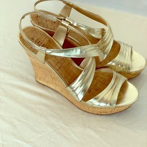Guess gold cork wedge